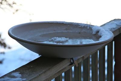 heated bird bath with ice sculptures