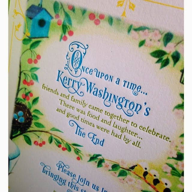 these book themed baby shower invites for actress  Kerry Washington    Kerry Washington Baby Shower Photos