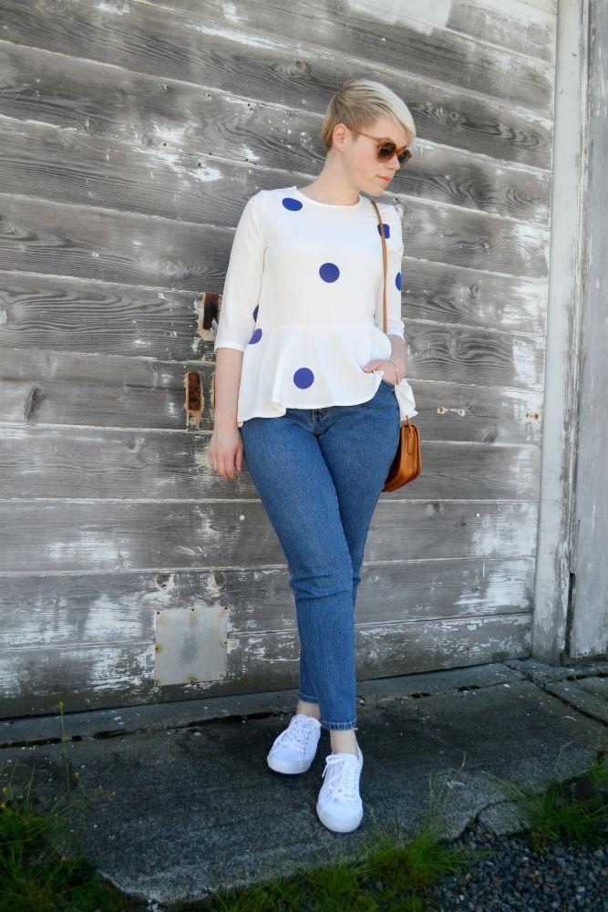 Catie Beatty, spots, Oasap, peplum, mom jeans, vintage, coach