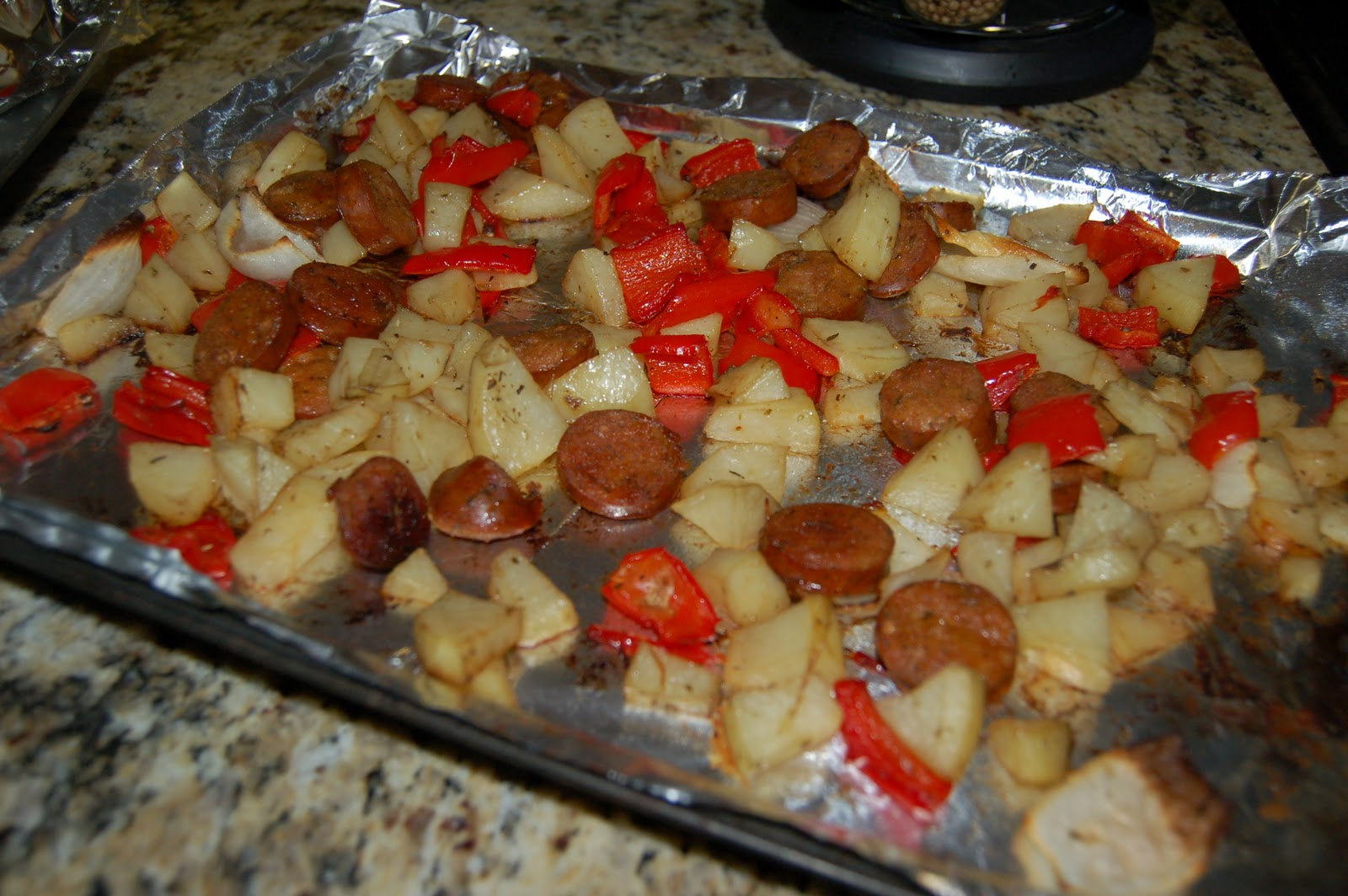 David + Jen = Max: Roasted Potatoes, Chicken Sausage and Peppers