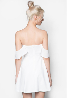 Something Borrowed Overlay Off Shoulder Dress in White