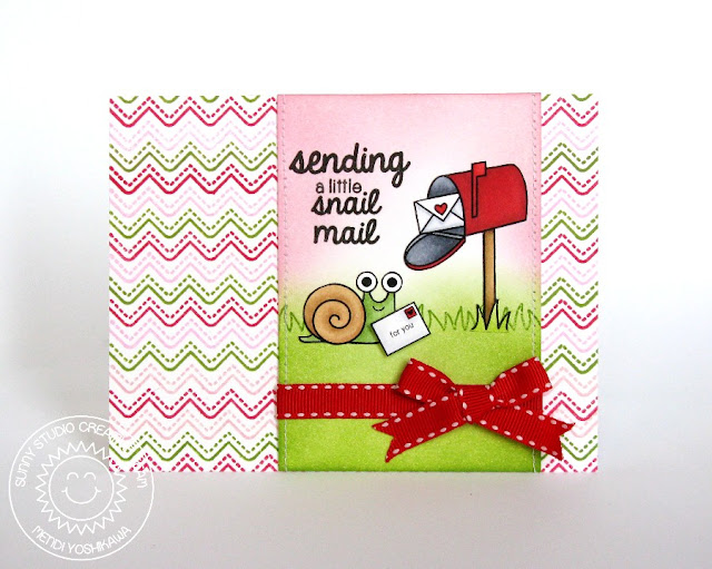 Sunny Studio Stamps Sending Snail Mail Card (using Bunny Borders, Backyard Bugs & Sending My Love)