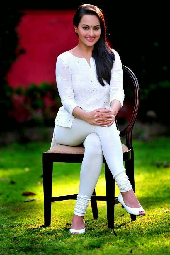Sonakshi Sinha Cute Photo in White Dress