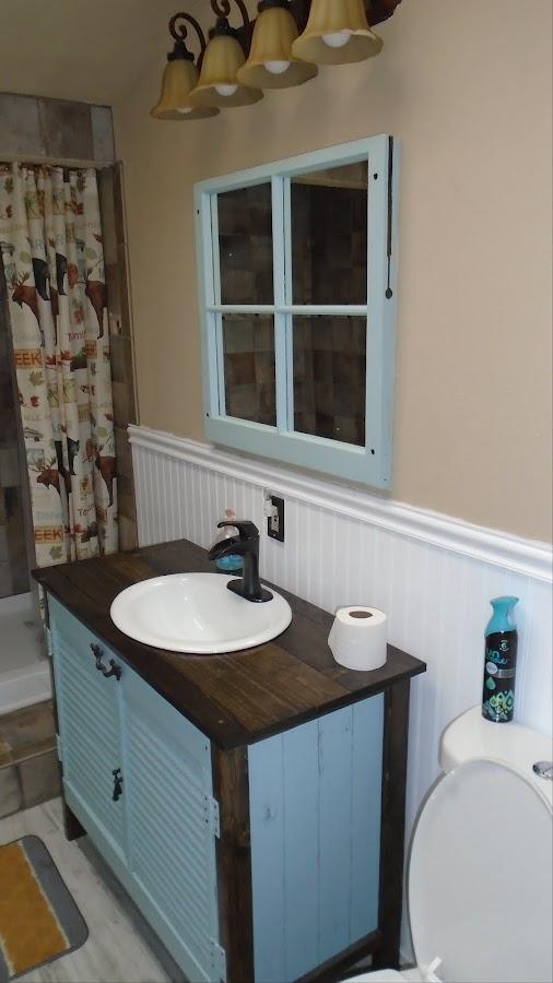 Custom Vanity with Vintage Window