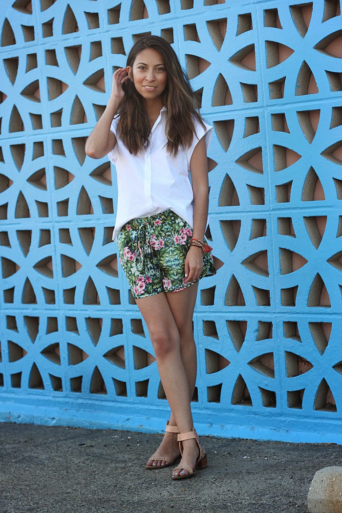 white button down shirt, tropical printed shorts