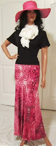 Ladies Abstract PINK Animal Print Stretch Knit Jersey Skirt for Missionary, Travel, or Leisure Wear