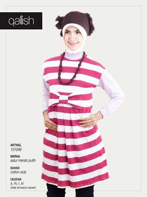 Produk Qallish Kaos Cardigan Koleksi Gamis Muslimah Salur Merah Putih