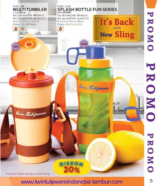 Promo Diskon Tulipware | September - Oktober 2015, Multi Tumbler, Splash Bottle Fun Series