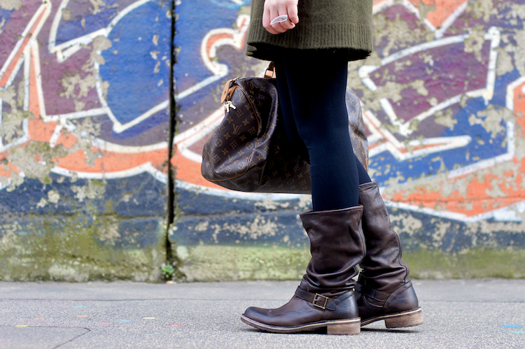 brown leather biker boots 