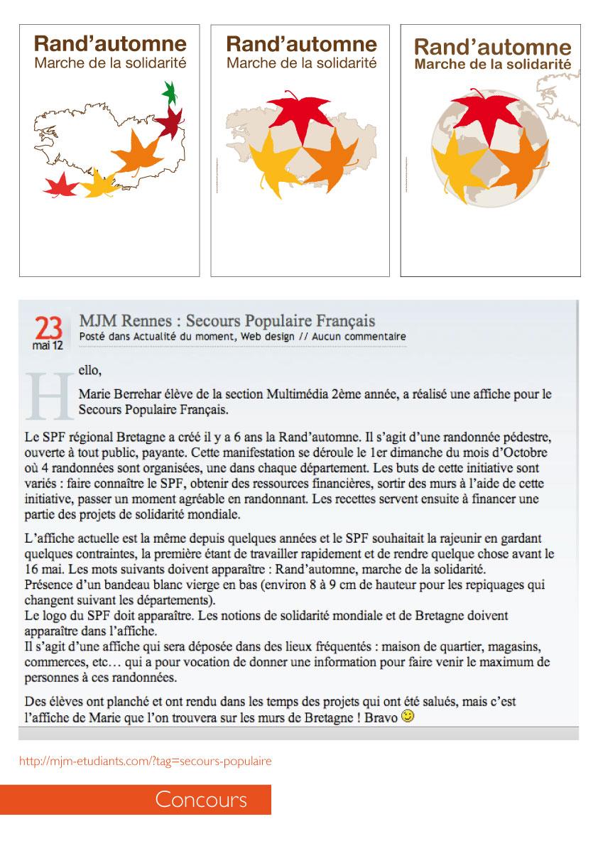 Concour affiche pour le secours populaire publi e en bretagne graphiste freelance rennes - Mjm graphic design rennes ...