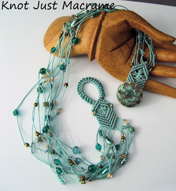 Beaded macrame necklace multiple strands in aqua teal