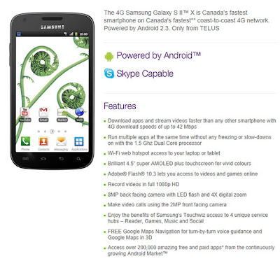 4G Samsung Galaxy S II X Coming Soon Live On TELUS