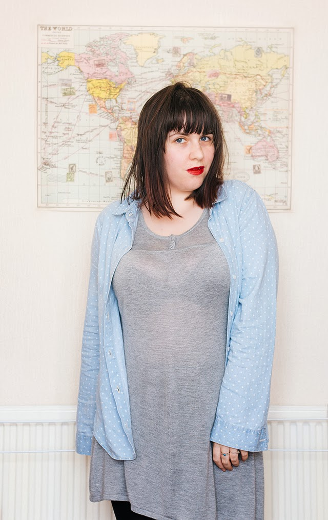 full length photo of denim blouse and grey jersey dress