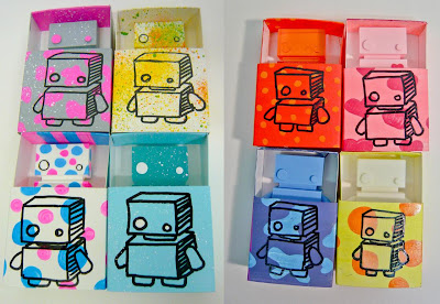 The Jelly Empire x Argonaut Resins Hand Painted Jelly Bot Mini Resin Figures and Matchbox Packaging by Selina Brings