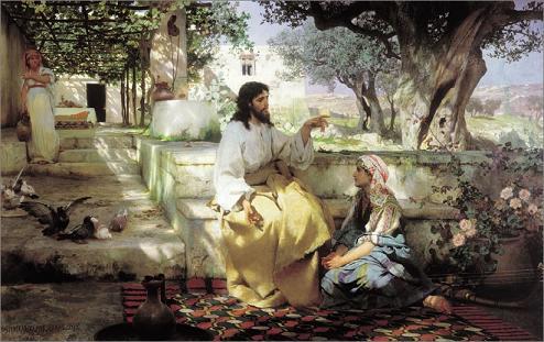Η Μαρία καθισμένη  «παρά τους πόδας του Ιησού»