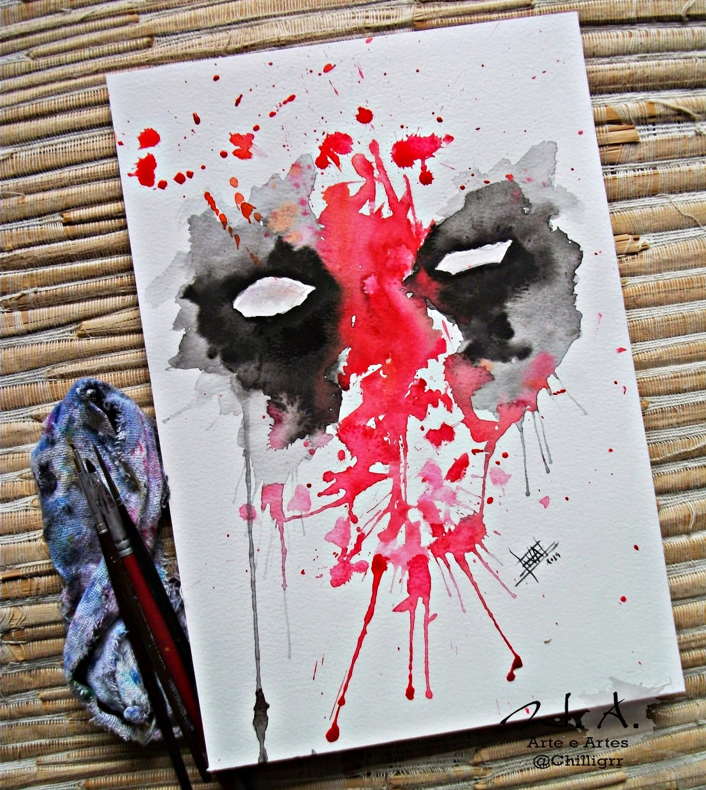 watercolor, painting, art, deadpool painting, deadpool tattoo, tattoo art, watercolor tattoo
