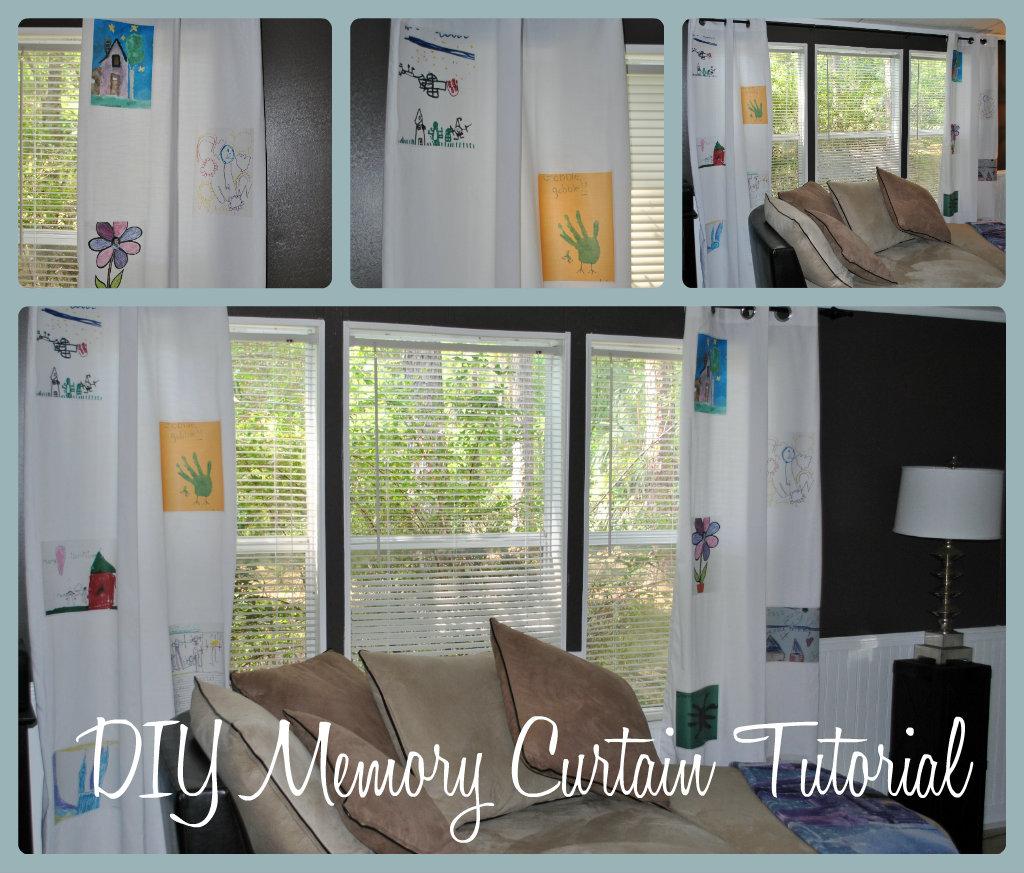 Life with 4 boys diy memory curtain tutorial for Diy curtain ideas for living room