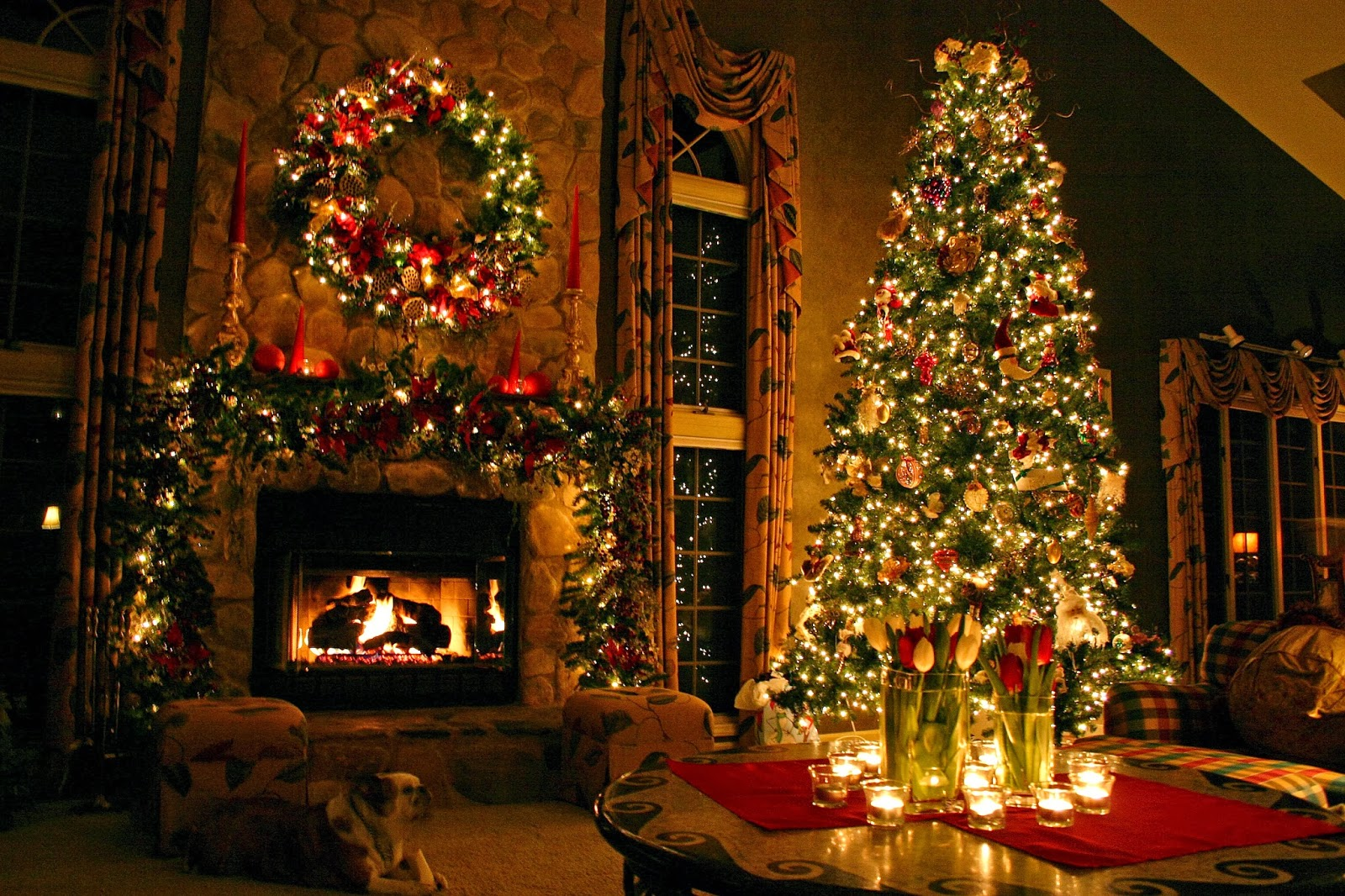 Holiday Decorating Alluring Of Christmas Tree Fireplace Images