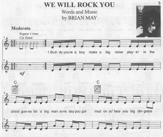 We Will Rock You Guitar Chords