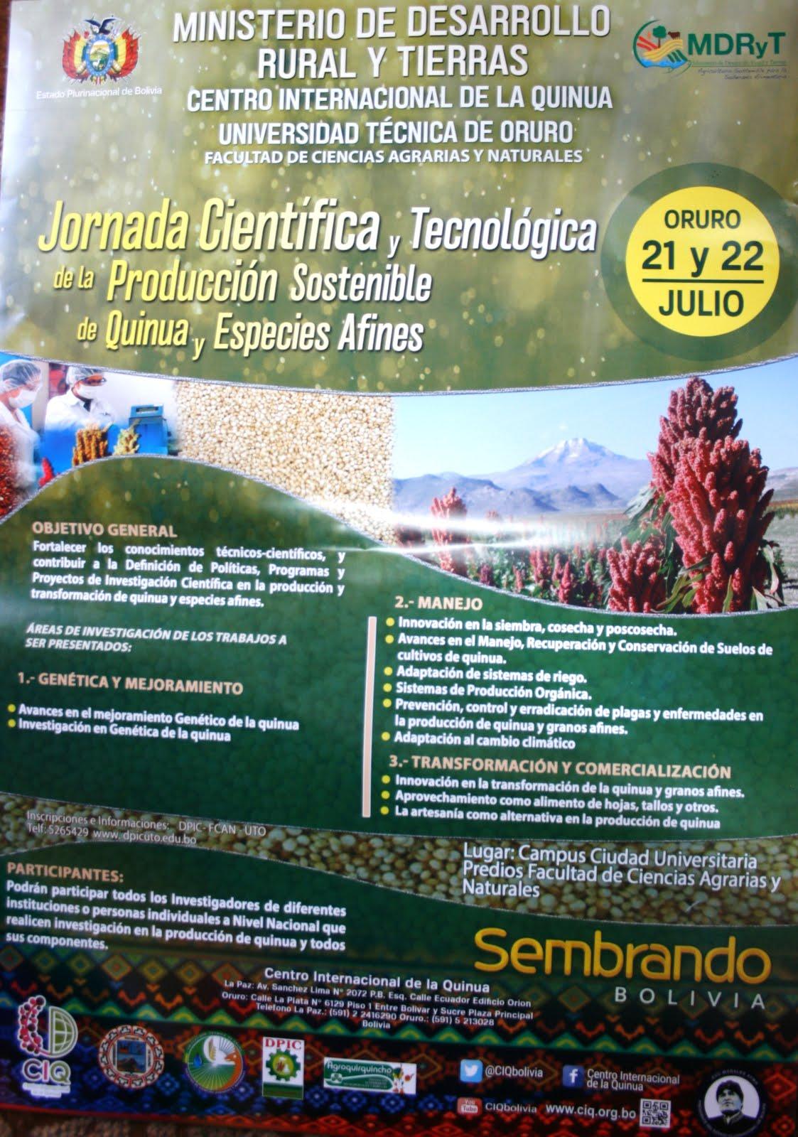 JORNADA CIENTÍFICA Y TECNOLÓGICA DE LA PRODUCCIÓN SOSTENIBLE DE QUINUA Y ESPECIES AFINES