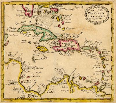 Mapa Antiguo de República Dominicana en  El Caribe