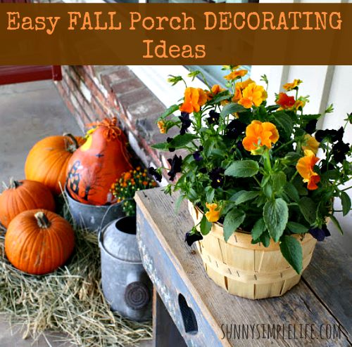 fall, porch, pansies, pumpkins