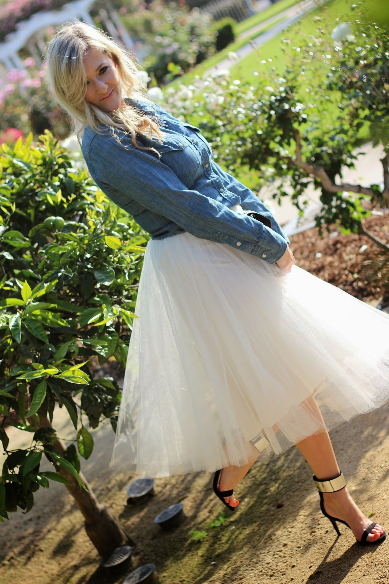 The Girl that loves, Tulle skirt, chambray, shinymix, sole society, hot iron holster