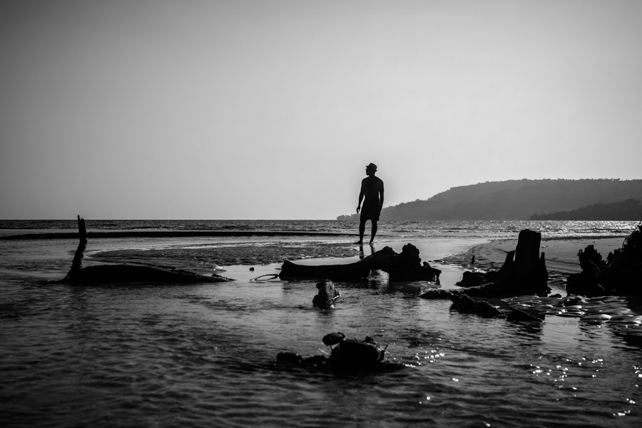 black and white beach picture