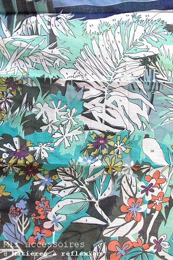 Foulard imprimé fleurs coloriage coton coloré Mii soldes accessoires
