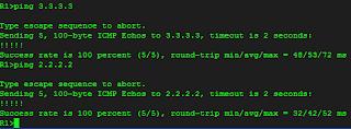 Hasil tes ping Router R1