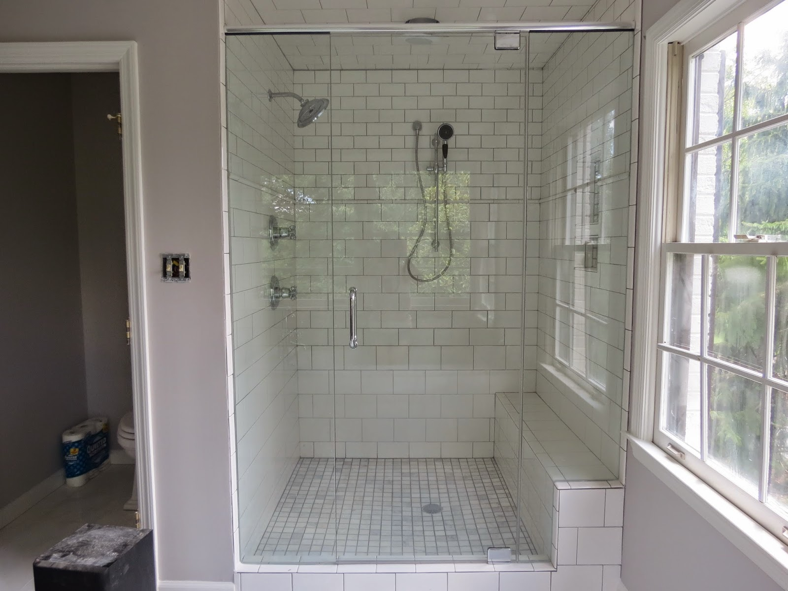 lovely marble floors from Lowes. Stacy Jacobi Home  From a Pink Master Bath to What else  White