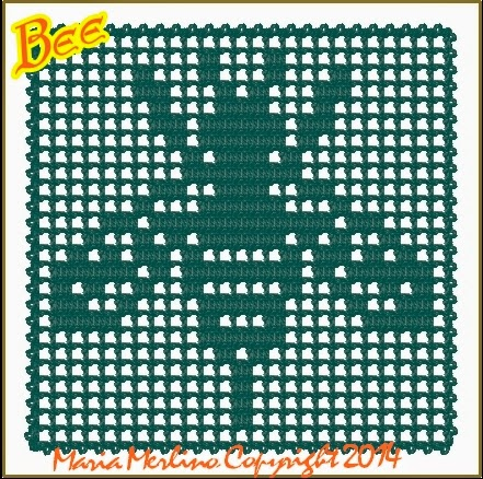 Bee trapped in filet crochet