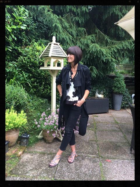 My Midlife Fashion, Zara, Mint Velvet, Distressed Denim, Duster Coat, glitter sandals