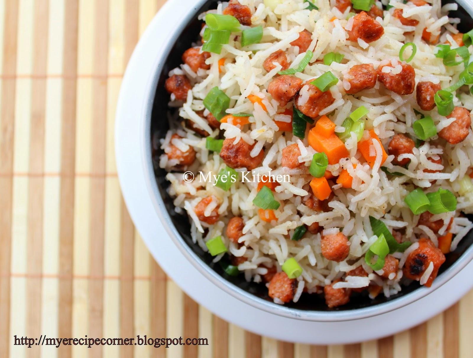 Myes kitchen soya chunks fried rice meal maker recipes soya chunks fried rice forumfinder Choice Image