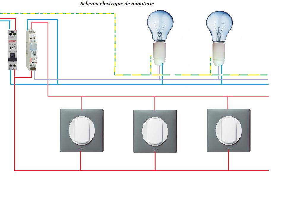 Electricit schema electrique minuterie branchement 4 fils - Installer plafonnier branchement des fils ...