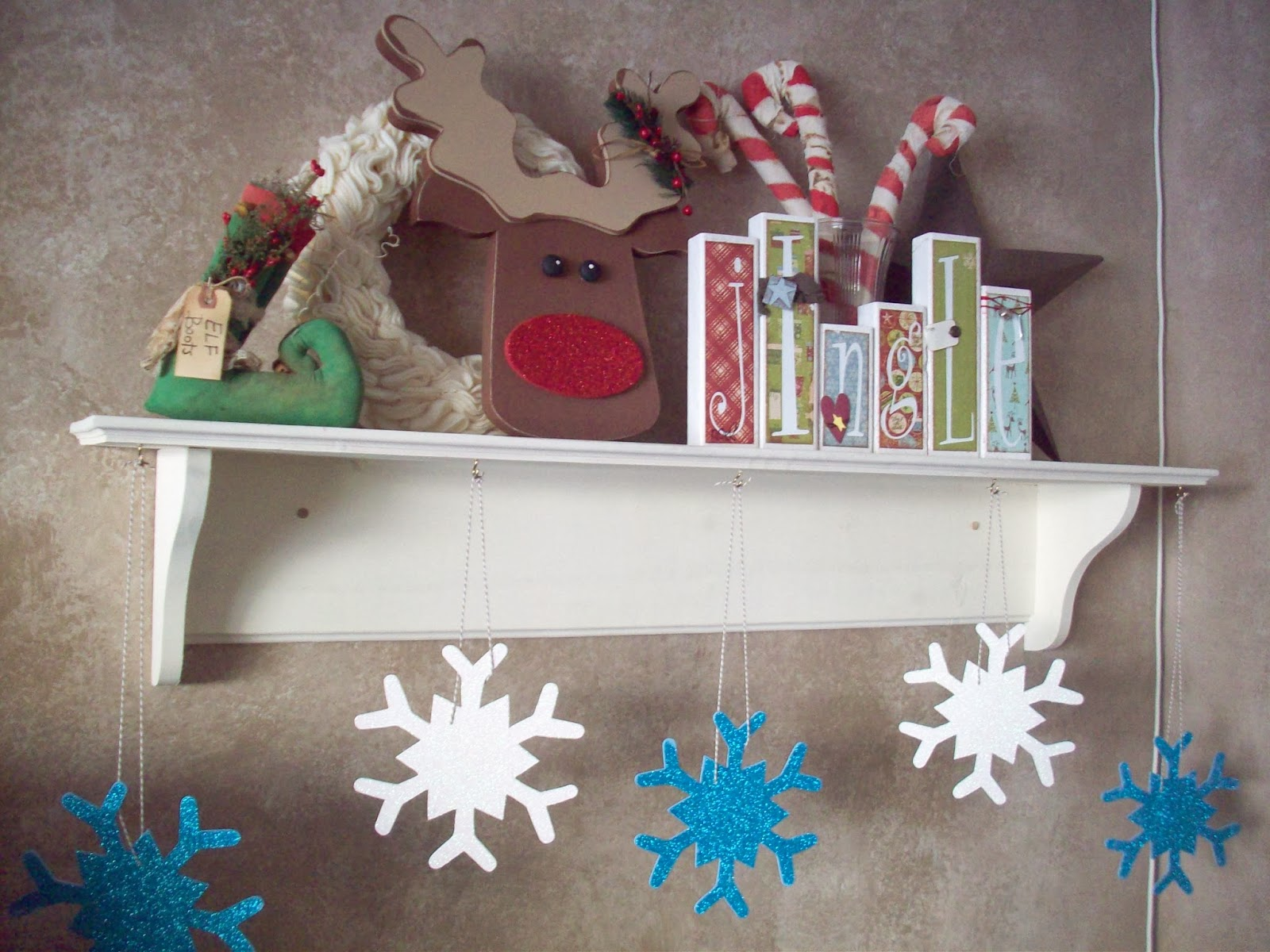 glitter snowflakes and rudolph christmas decorations glitteratmichaels - Christmas Shelf Decorations