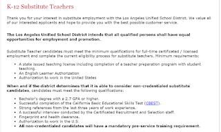 Substitute Teaching Requirements for LAUSD