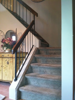 staircase renewal - read oak railing and steps and wrought iron spindles. new jersey, nj