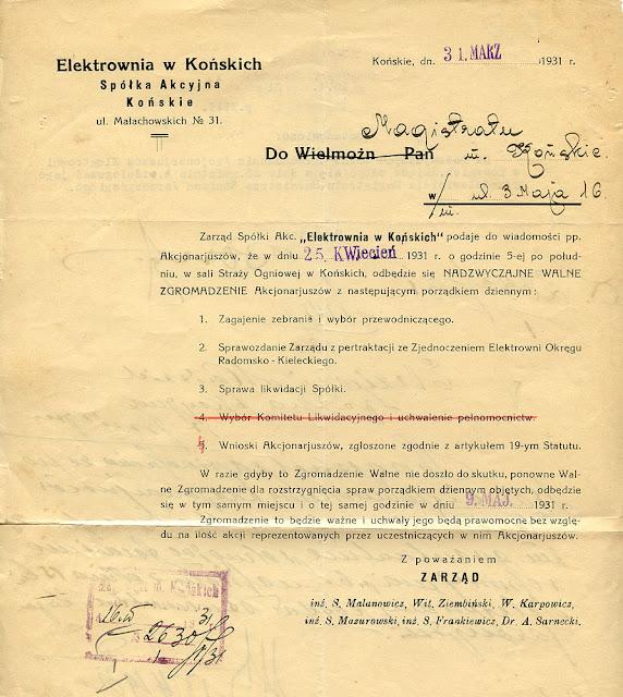 Elektrownia w Końskich - pismo z dnia 31.03.1931 skierowane do magistratu informujące o nadzwyczajnym walnym zgromadzeniu akcjonariuszy. Proszę zwrócić uwagę na pkt 2 i 4 porządku dziennego. Dok. ze zbiorów KW.