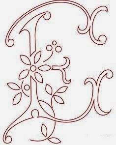 E flower calligraphy monogram tattoo stencils