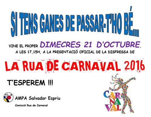Cartell carnaval AMPA Salvador Espriu 2015-2016