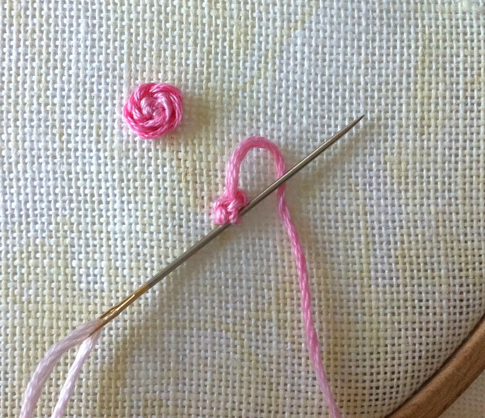 Humming Needles Stem Stitch Rose With Knotted Center