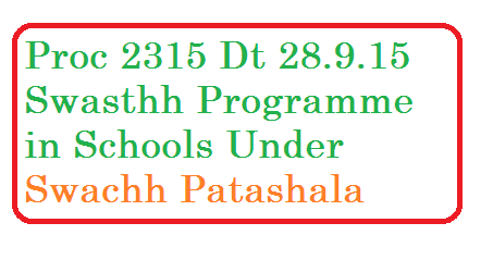 Swasthh Programme in Schools Swachh patashala october month schedule proc 2315 ssa telangana