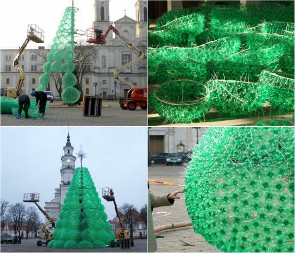 Как сделать елку на улицу из пластиковых бутылок