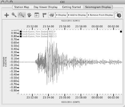 Aroha Silhouettes Christchurch Earthquake 6.3 Seismogram