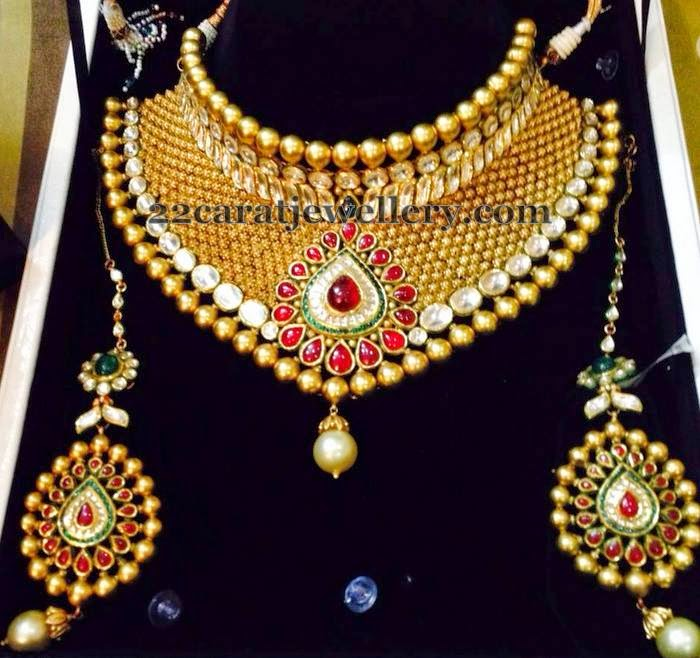 Bridal Kundan Choker with Ear chains