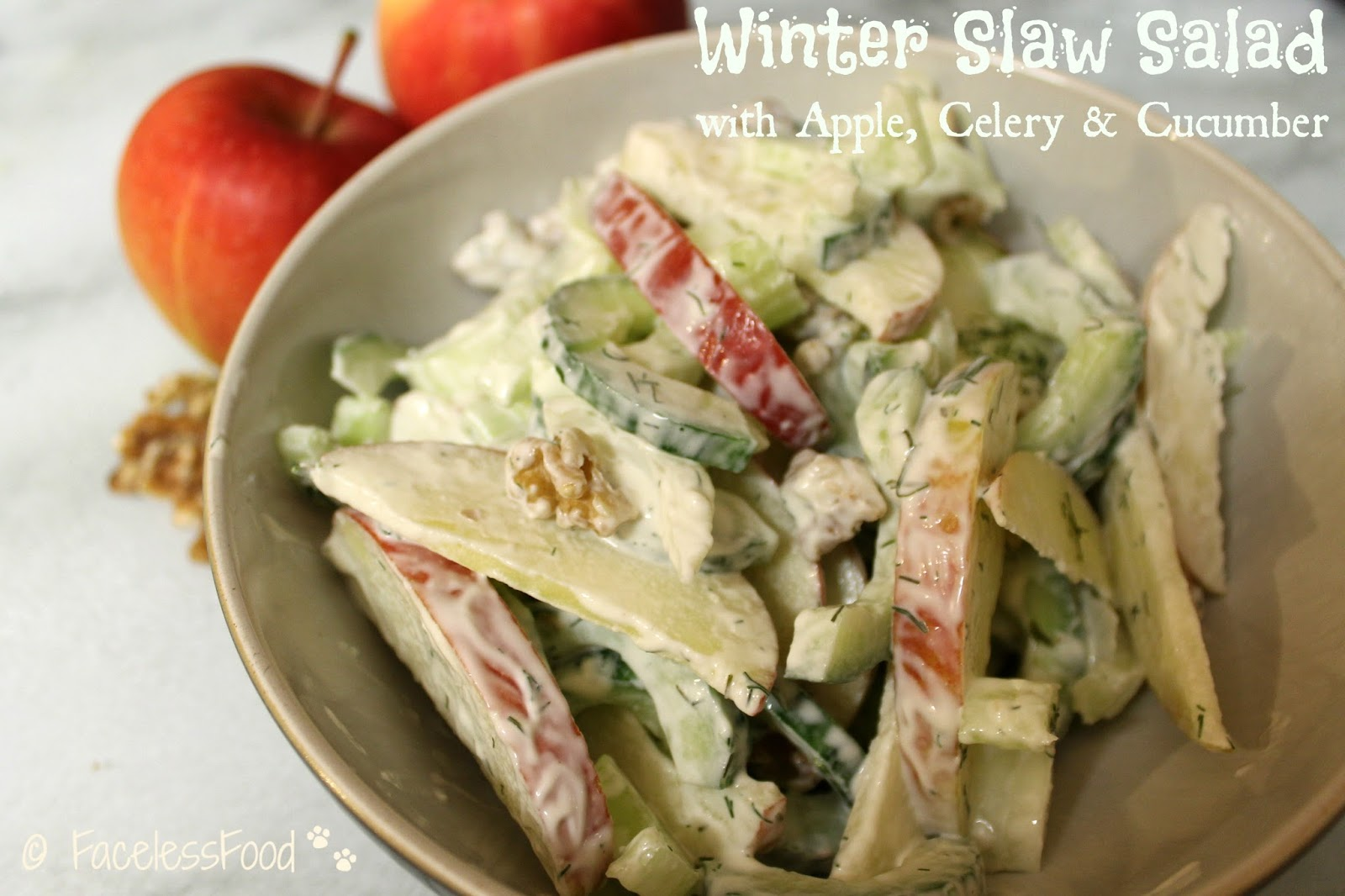 ... Anything With A Face: Winter Slaw Salad with Apple, Celery & Cucumber