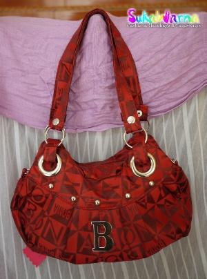 handbag bonia merah sukawarna