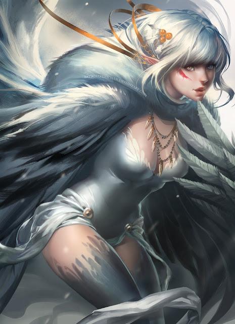 snow harpy,harpy,digital art girl