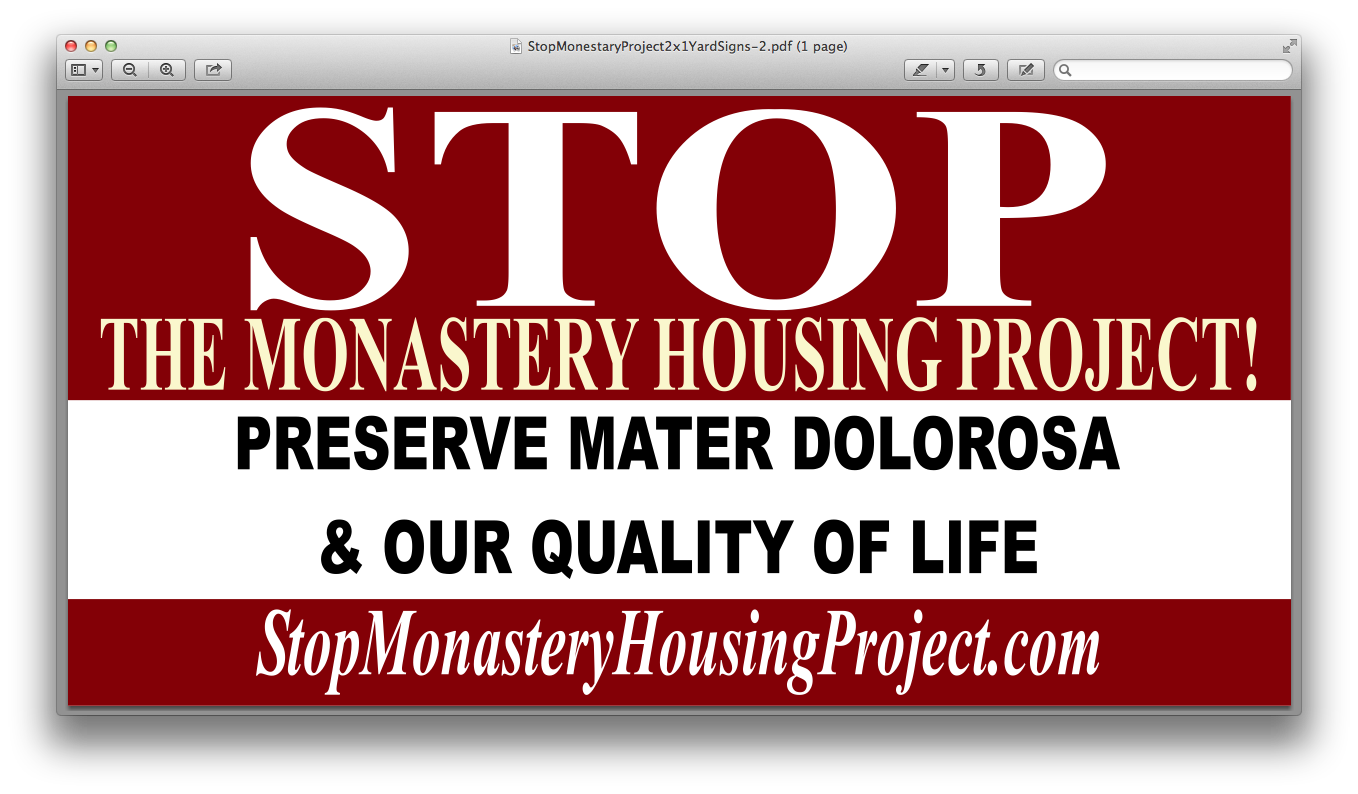 Monastery Yard Signs Now Available - Qtys Limited!